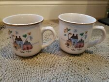 LOT OF 2 HEARTLAND Coffee Mugs Tea Cups Tan Brown rim Houses