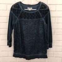 Lucky Brand Lucky Bliss Blue Crochet Lace Sweatshirt Top Size Small