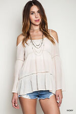 UMGEE Bohemian Cold Shoulder Long Sleeve Tunic Top Peasant Gypsy IVORY Large