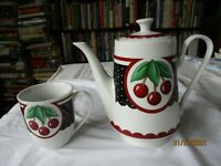 Vintage Mary Engelbreit Cherry Coffee Pot 2001 Enesco & matching coffee cup