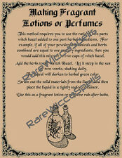 Recipe for Making Lotions & Perfume Potions 1pg for Wicca Spell Book of Shadows