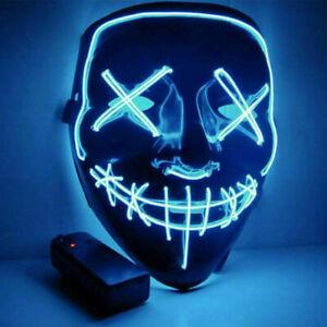 "Light Up Masks ""Stitches"" LED Costume Mask Halloween Rave Cosplay Party (Blue)"
