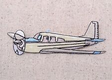 White/Blue Prop Plane/Airplane - Flying - Iron on Applique/Embroidered Patch
