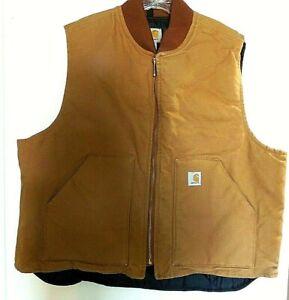 CARHARTT Men's Brown Zip Front Insulated Vest, Quilt Lining, Size 2XL, NEW