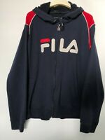 Vintage Fila Mens Navy Blue Zip Up Hooded Sweatshirt Hoodie Size XL