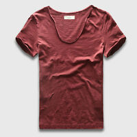 Men's Deep V Neck T-shirt Short Sleeve T Shirts Slim Fit Basic Tees Roll Sleeve