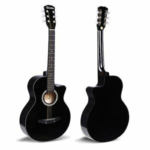 """38"""" Black Acoustic 6 String Music Boys Girls Guitar Beginners Adults 3/4 Size UK"""