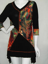 PRETTY WOMAN TRAVEL KNIT 3/4 SLV  SHARK BITE TUNIC   SM   VIBRANT PATCHWORK