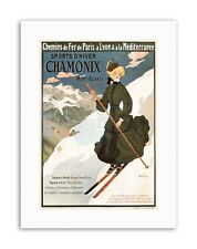WINTER SNOW SKIING CHAMONIX FRANCE Poster Vintage Travel Sport Canvas art Prints