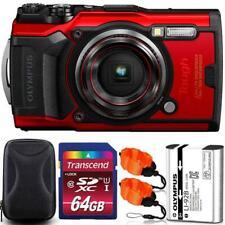 Olympus Tough TG-6 Digital Camera Red + 64GB Memory Card + Strap & Case