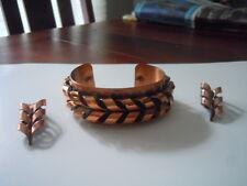 """Vintage Renoir copper bracelet and earrings *Flame"""""""