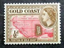 British Gold Coast 1952-54 Queen Elizabeth II 1/2d Map Of West Africa - 1v MLH#3