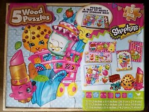 Shopkins Wood Puzzles 5-Pack NEW!