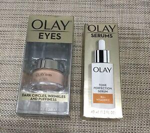 OLAY Eye Cream & Tone Perfection Serum B3 + Vitamin C LOT OF 2