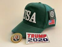 Trump...USA 45..Hat...Make America Great Again Cap..MAGA  Green + 2 Decals