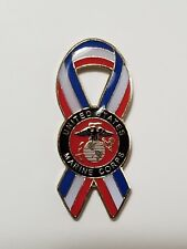 Us Marine Corps Lapel Cap Hat Pin Red White Blue Ribbon Tie Tac Fast Shipping
