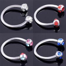 Crystal Surgical Steel Piercing Horseshoe Lip Bar Stud Nose Ear Nipple Hoop LJ