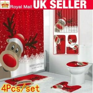 UK Christmas Bathroom Bow Bell Shower Curtain Non-Slip Toilet Seat Cover Mat Rug