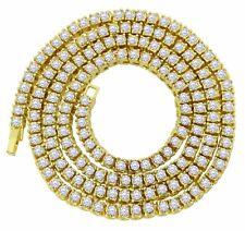 Men Women 1 Row Tennis Necklace 14k Gold Plated Choker Iced Chain Cz Hip Hop