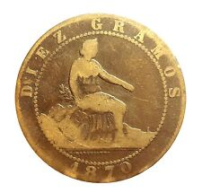 1870 Monedas España-Diez Centimo-diez gramo-bonita pátina #PZS12