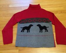 Women's Orvis Knit Turtleneck Sweater With Dogs  Size Small