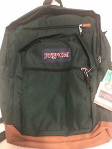 """JanSport Cool Student Dark Green Boys Girls Backpack Bookbag 15"""" Laptop New"""