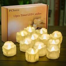 Battery Operated Timer Candles PChero 12 Packs LED Flameless Votive Tea Light...
