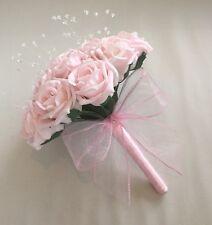 BRIDESMAID PINK BOUQUET WEDDING FLOWERS FOAM ROSE ARTIFICIAL POSIE CRYSTAL