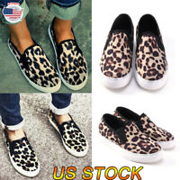 Women Casual Comfy Canvas Shoes Plimsolls Leopard Flats Slip On Loafers Sneakers