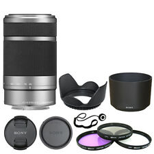 Sony E 55-210mm F4.5-6.3 Lens for Sony E-Mount Silver + Deluxe Accessory Kit