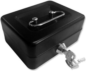 Jssmst Locking Metal Cash Box with Money Tray Lock Box Black Fireproof Security