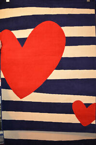 Blue Rug Striped Heart Pattern Polypropylene Seaside Style 160cm x 225cm