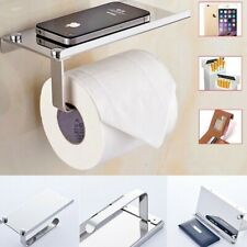 Wall Mounted Bathroom Toilet Paper Phone Holder Rack Tissue Roll Stand Silver