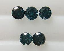 0.21cts 2.1-2.2mm 5pc Natural Loose Fancy Blue Diamond SI Clarity Brilliant Cut