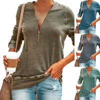 Women Long Sleeve Shirt V Neck Solid Blouse Ladies Casual Loose Zipper Tunic Top