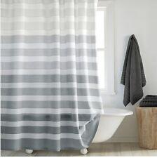 "New Dkny Highline Stripe Fabric Shower Curtain Gray/White Stripe 72"" x 72�"