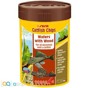 Sera Catfish Chips Fish Food 1.3oz Wafers with Wood 100mL Willow Bark Alder Cone