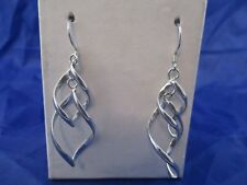 Flame Dangle Earrings Vintage Sterling Silver Twisted