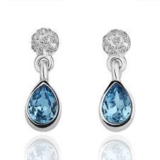 Brand New 18K White GOLD GF Drop Earings  With SWAROVSKI Crystal