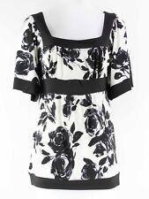 Cocomo Sz S Black White Polyester Spandex Floral Square Neck Kimono Top E245