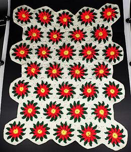 "Poinsettia Flowers Granny Square Crochet Throw 41"" x 33"" Holiday Christmas"