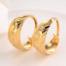 Vintage 18K Yellow Gold Filled trendy Leverback ear Hoop Earrings For Womens