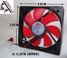 PC Gehäuse Lüfter 12cm Fan 120x120x25mm DC 12V s. leise Kühler Cooler Black/Rot