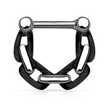 """14 Gauge 3/8"""" Black Chain Linked Casted Septum Clicker Nose Piercing Septum Ring"""