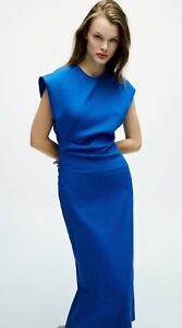 ZARA Linen Blend Dress LIMITED EDITION Electric Blue Long Midi Size L BNWT SS 21