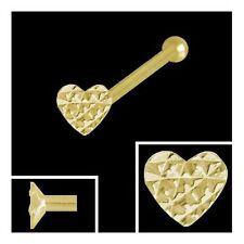 Gold 750 piercing, corazón 2,3 mm diamantado nasenstecker bala lápiz nariz