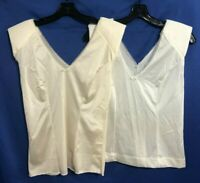 VTG Lot 2 Nylon SHOULDER PAD CAMISOLE CAMI Top Lace Trim V-Neck White/Ivory XS/S