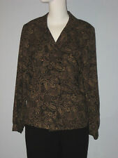 BRETTONS Size 10 Brown 100% Wool Paisley Long Sleeve Blouse (Made in Canada)