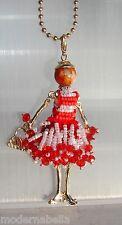 new collection Collana Bambola vestito di perline,necklace doll,da donna rossoBi