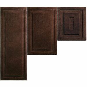 mDesign Soft Microfiber Polyester Bathroom Spa Mat Rugs/Runner, Set of 3 - Brown